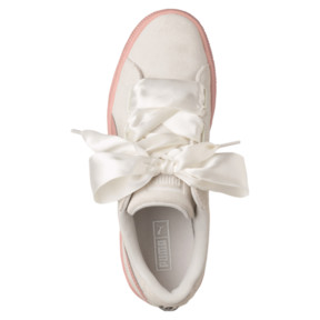 Thumbnail 5 of Suede Heart Jewel JR Sneakers, Whisper White-Peach Beige, medium