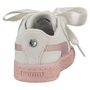Thumbnail 4 of Suede Heart Jewel Girls' Sneakers, Whisper White-Peach Beige, medium