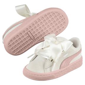 Thumbnail 2 of Suede Heart Jewel Girls' Sneakers, Whisper White-Peach Beige, medium