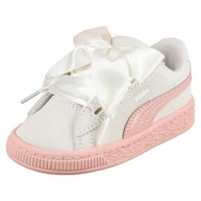 Thumbnail 1 of Suede Heart Jewel Girls' Sneakers, Whisper White-Peach Beige, medium