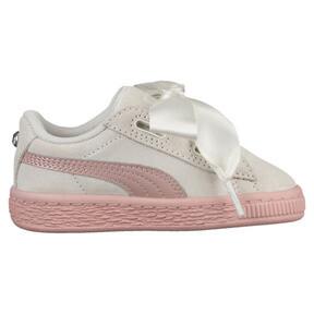 Thumbnail 3 of Suede Heart Jewel Girls' Sneakers, Whisper White-Peach Beige, medium