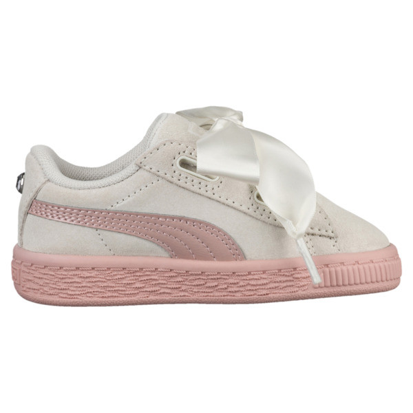 Suede Heart Jewel Girls' Sneakers, Whisper White-Peach Beige, large