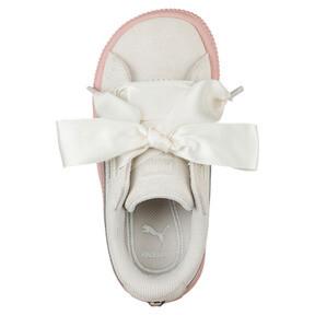 Thumbnail 5 of Suede Heart Jewel Girls' Sneakers, Whisper White-Peach Beige, medium