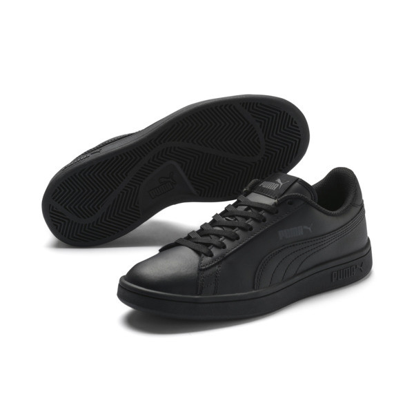 PUMA Smash v2 Leather Sneakers JR, Puma Black-Puma Black, large