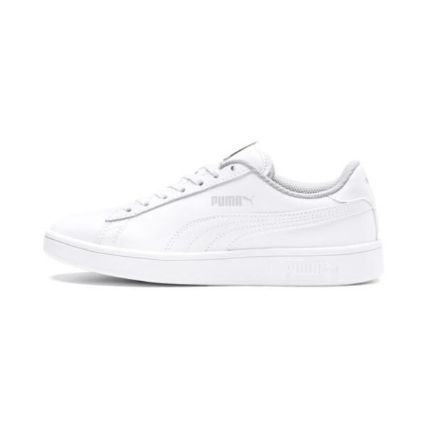 Zapatos deportivos PUMA Smash v2 de cuero JR, Puma White-Puma White, grande
