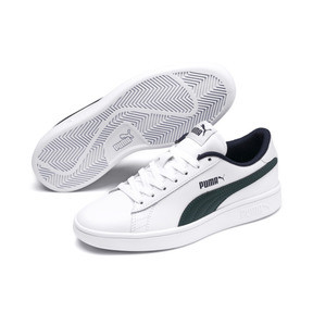 Thumbnail 2 of PUMA Smash v2 Youth Sneaker, Puma White-Ponderosa Pine, medium
