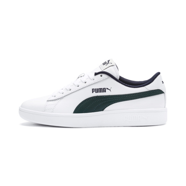 PUMA Smash v2 Youth Sneaker, Puma White-Ponderosa Pine, large