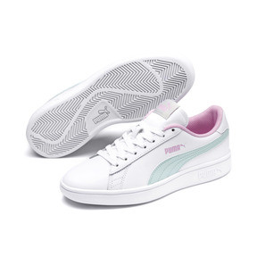 Thumbnail 2 of Puma Smash v2 Youth Trainers, White-Fair Aqua-Pale Pink, medium