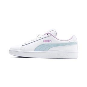 Thumbnail 1 of Puma Smash v2 Youth Trainers, White-Fair Aqua-Pale Pink, medium