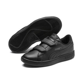 Thumbnail 2 of Smash v2 Leather Kids' Trainers, Puma Black-Puma Black, medium