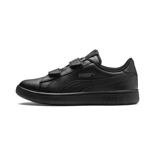 Smash v2 Leather Kids' Trainers, Puma Black-Puma Black, large