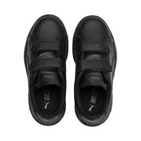 Thumbnail 6 of Smash v2 Leather Kids' Trainers, Puma Black-Puma Black, medium
