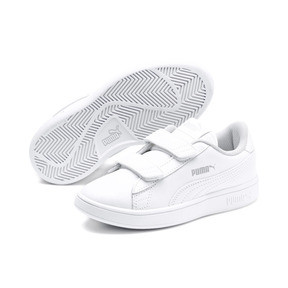 Thumbnail 2 of Smash v2 Leather Kids' Trainers, Puma White-Puma White, medium