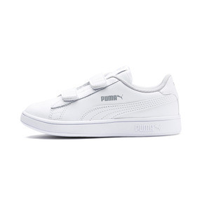 Thumbnail 1 of Smash v2 Leather Kids' Trainers, Puma White-Puma White, medium