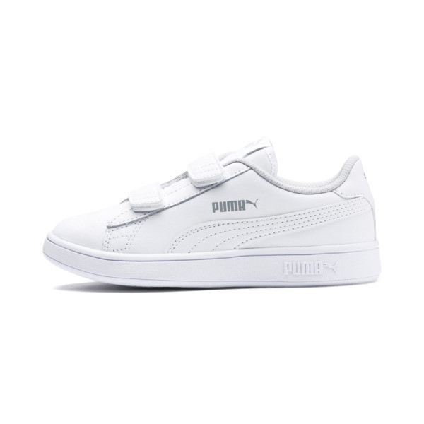 Smash v2 Leather Kids' Trainers, Puma White-Puma White, large