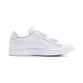 Thumbnail 5 of Smash v2 Leather Kids' Trainers, Puma White-Puma White, medium