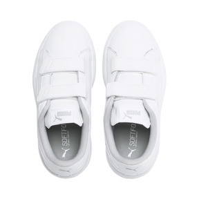 Thumbnail 6 of Smash v2 Leather Kids' Trainers, Puma White-Puma White, medium