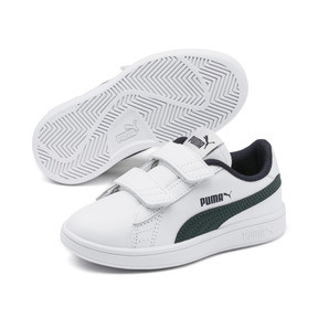 Thumbnail 2 of Smash v2 Leather Kids' Trainers, Puma White-Ponderosa Pine, medium