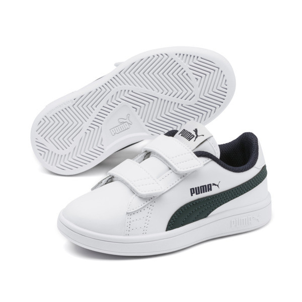 Smash v2 Leather Kids' Trainers, Puma White-Ponderosa Pine, large