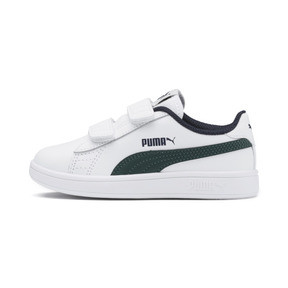 Thumbnail 1 of Smash v2 Leather Kids' Trainers, Puma White-Ponderosa Pine, medium