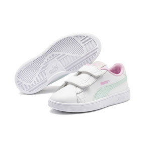 Thumbnail 2 of Smash v2 Leather Kids' Trainers, White-Fair Aqua-Pale Pink, medium