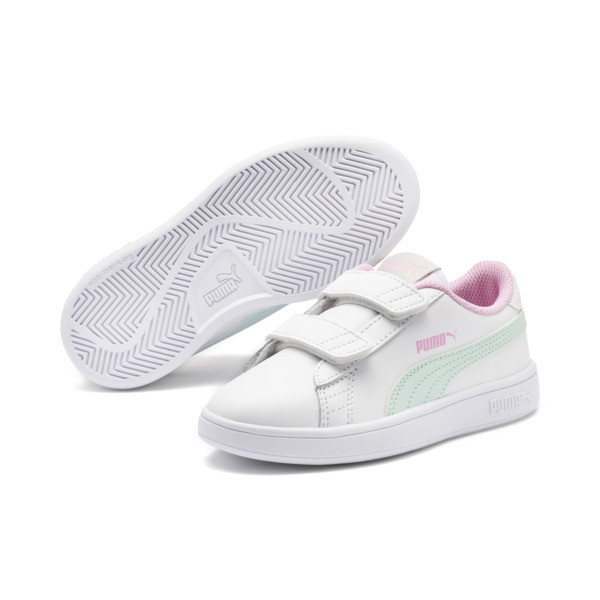 Smash v2 Leather Kids' Trainers, White-Fair Aqua-Pale Pink, large