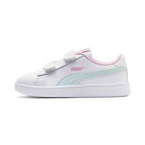 Thumbnail 1 of Smash v2 Leather Kids' Trainers, White-Fair Aqua-Pale Pink, medium