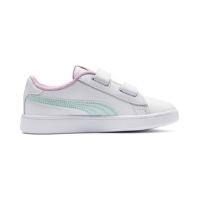 Thumbnail 5 of Smash v2 Leather Kids' Trainers, White-Fair Aqua-Pale Pink, medium