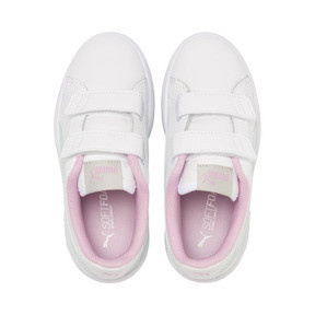Thumbnail 6 of Smash v2 Leather Kids' Trainers, White-Fair Aqua-Pale Pink, medium