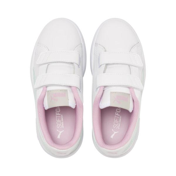 Basket en cuir Smash v2 pour enfant, White-Fair Aqua-Pale Pink, large