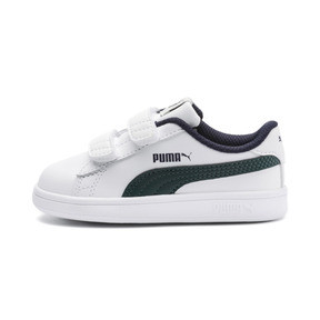 Thumbnail 1 of Smash v2 Kids' Trainers, Puma White-Ponderosa Pine, medium