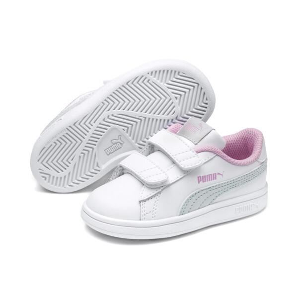 Puma Smash v2 L V Toddler Shoes, White-Fair Aqua-Pale Pink, large