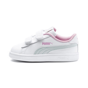 Thumbnail 1 of Smash v2 Kids' Trainers, White-Fair Aqua-Pale Pink, medium