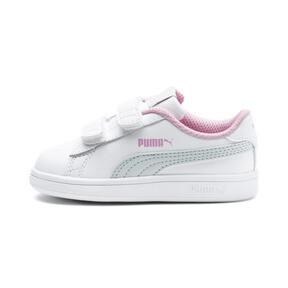 Thumbnail 1 of Puma Smash v2 L V Toddler Shoes, White-Fair Aqua-Pale Pink, medium