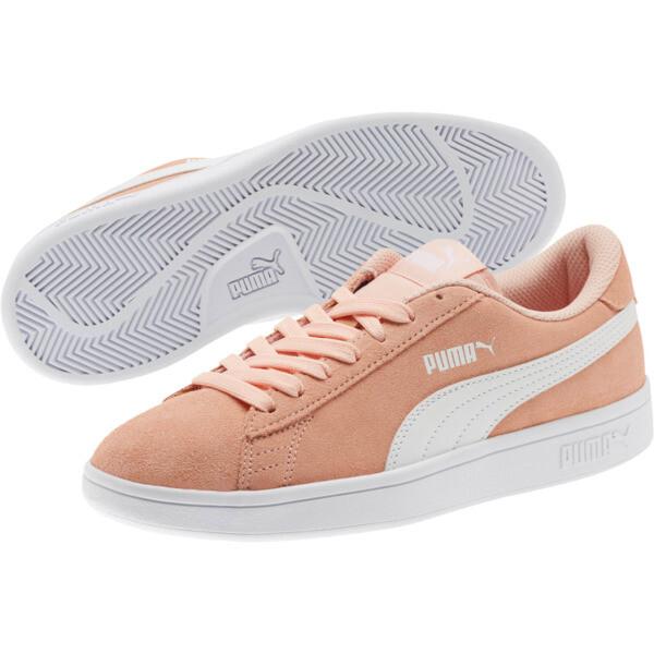 Smash v2 Suede JR Sneakers, Peach Bud-Puma White, large