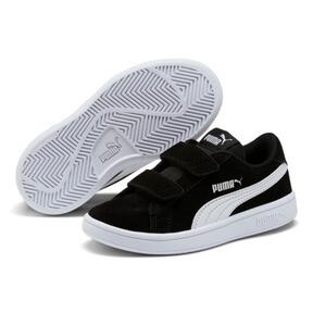 Thumbnail 2 of Smash v2 Suede Little Kids' Shoes, Puma Black-Puma White, medium