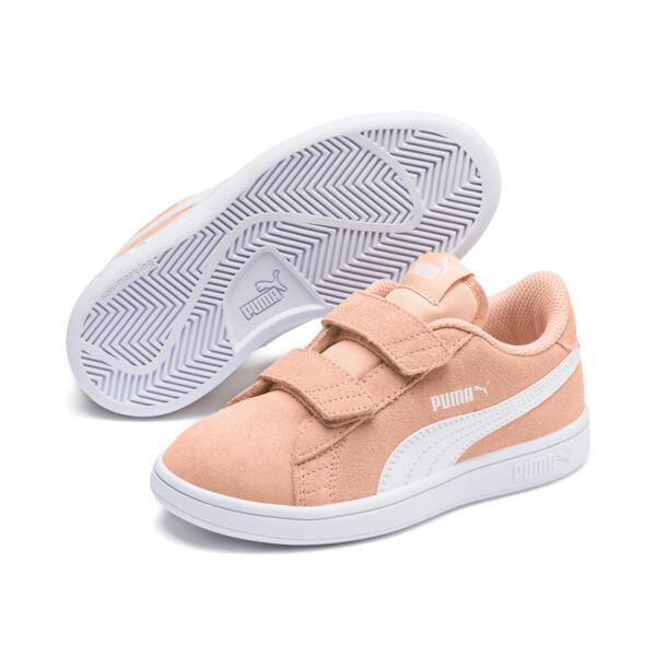 ZapatosSmash v2Suede para niños, Peach Parfait-Puma White, grande