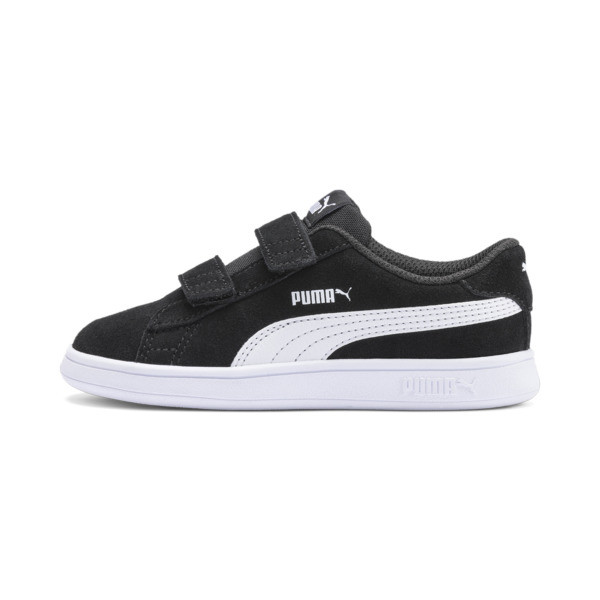 The PUMA Smash v2 is the latest interpretation of the PUMA Smash icon. The tennis-inspired silhouette features a soft suede upper with a double strap closure for an everyday comfortable fit. | PUMA Smash v2 Suede Toddler Shoes in Black/White, Size 10