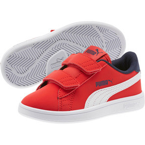 Thumbnail 2 of PUMA Smash v2 Buck AC Little Kids' Shoes, High Risk Red-White-Peacoat, medium