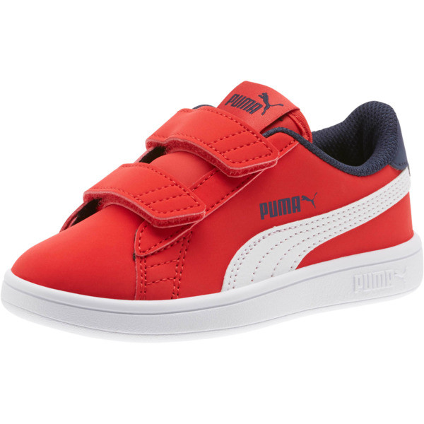 PUMA Smash v2 Buck AC Little Kids' Shoes, High Risk Red-White-Peacoat, large