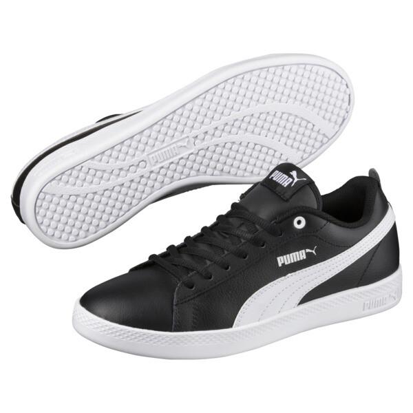 Smash v2 Leather Women's Sneakers, Puma Black-Puma White, large
