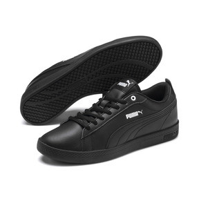 Thumbnail 2 of Smash v2 Leather Women's Sneakers, Puma Black-Puma Black, medium