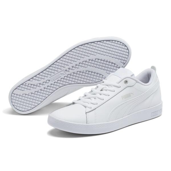 Smash v2 Leather Women's Sneakers, Puma White-Puma White, large