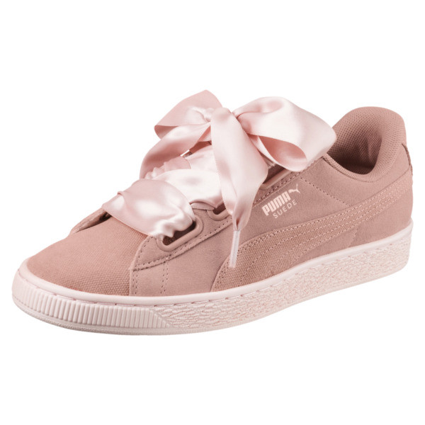 Suede Heart Pebble Women's Trainers, Peach Beige-Pearl, large