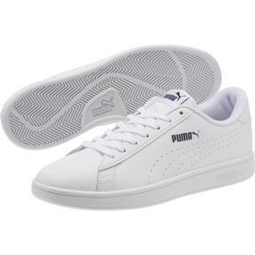Thumbnail 2 of PUMA Smash v2 Leather Perf Sneakers, Puma White-Puma White, medium