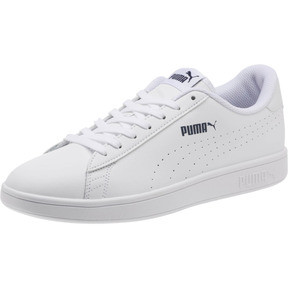 Thumbnail 1 of PUMA Smash v2 Leather Perf Sneakers, Puma White-Puma White, medium