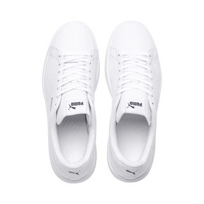 Thumbnail 6 of PUMA Smash v2 Leather Perf Sneakers, Puma White-Puma White, medium