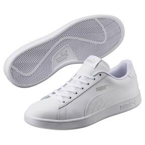 Thumbnail 2 of Smash v2 Leather Sneakers, Puma White-Puma White, medium