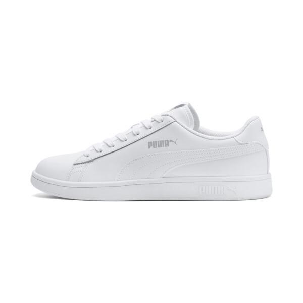 Smash v2 Leather Sneakers, Puma White-Puma White, large