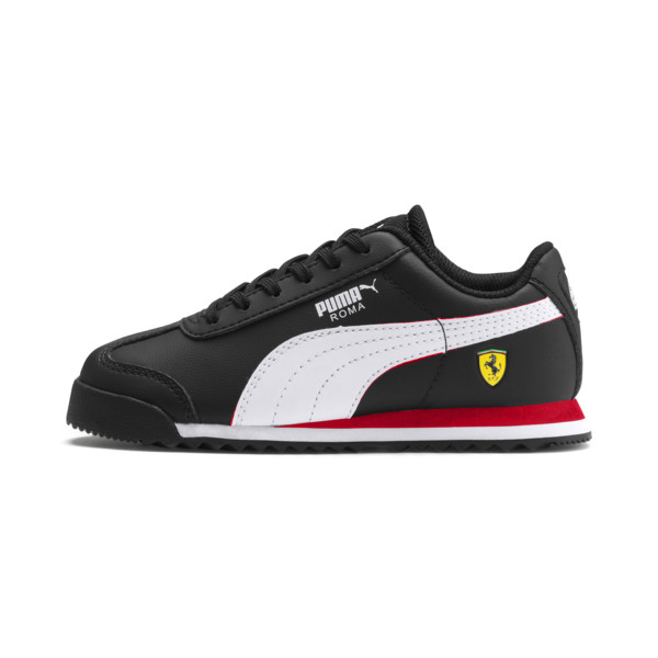 ZapatosScuderia Ferrari Roma para niños, Black-White-Rosso Corsa, grande
